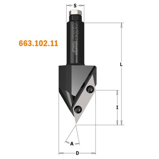 CMT Keményfém cserelapkás V-horony maró CNC-hez, D=44, A=60°