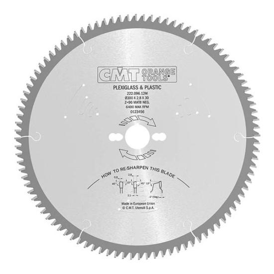 CMT ipari körfűrészlap műanyagokhoz és bútorlaphoz D=250/300x30
