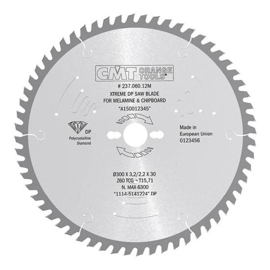 CMT Ipari, gyémánt körfűrésztárcsa kétoldalas laminált bútorlaphoz, finom vágásokhoz 300x30 Z60