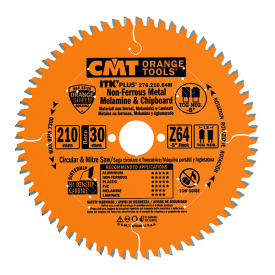 CMT Ipari ITK PLUS Kompozit és színesfém vágó fűrésztárcsa 216x30 Z64