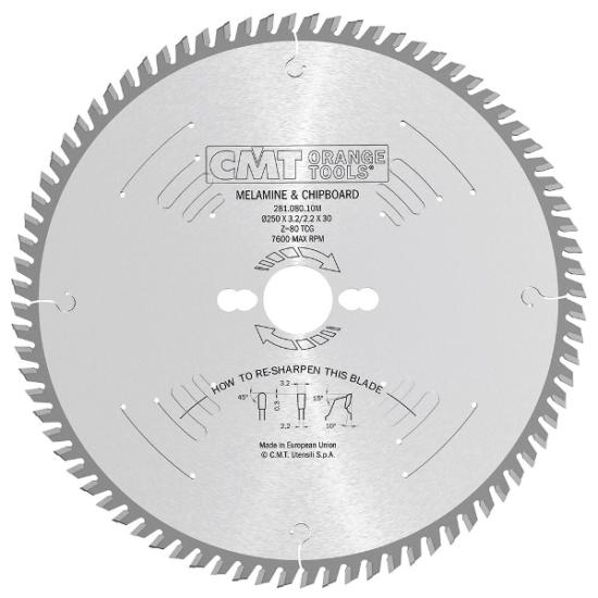 CMT Ipari körfűrésztárcsa kétoldalas melamin bútorlaphoz, finom vágásokhoz 250x30 Z80