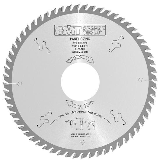 CMT Ipari, körfűrésztárcsa kétoldalas laminált bútorlaphoz 380x60 Z72