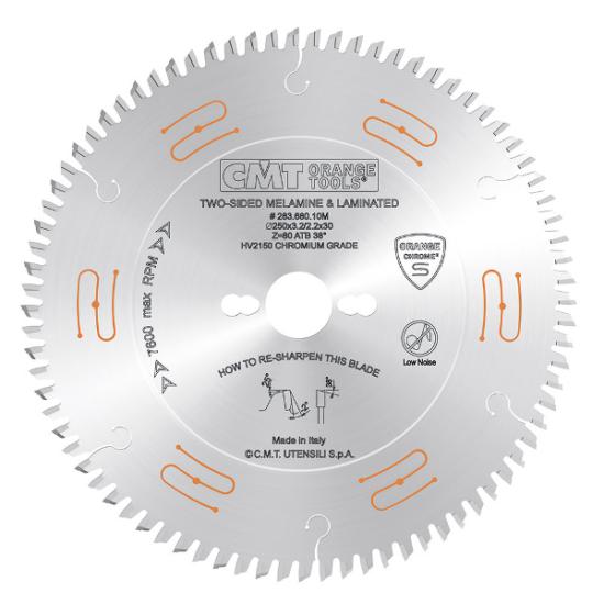 CMT ipari, zajcsillapított és krómmal bevont körfűrészlap függőleges lapszabászgépre D=250/300