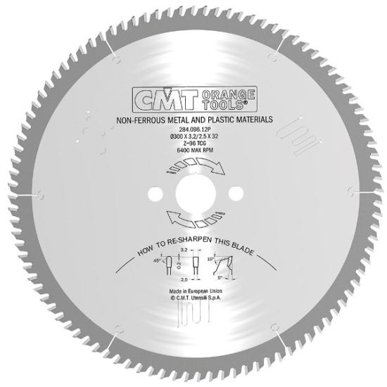 CMT ipari színesfém és műanyag vágó fűrésztárcsa D=250-500 B=32