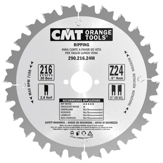 CMT ipari hasító körfűrészlap D=300-500x30 Z=24-44