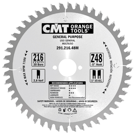 CMT Ipari, univerzális körfűrészlap 210x30 Z36