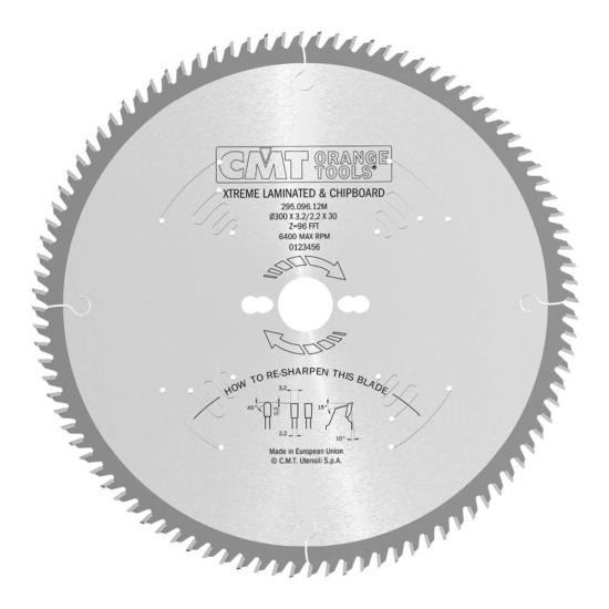 CMT Ipari körfűrésztárcsa kétoldalas melamin bútorlaphoz, finom vágásokhoz D=250-350