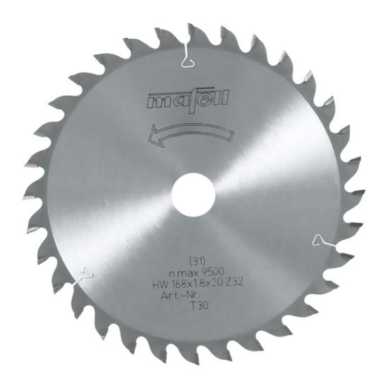 Mafell HM hosszvágó fűrészlap, 168x1,2/1,8x20 mm, 32 fog, AT